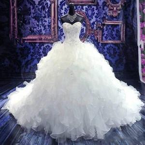 2020 de lujo bordado con cuentas de bola del vestido de boda de los vestidos de la princesa del Organza del amor en cascada riza el Tren de la catedral Vestidos de novia barato