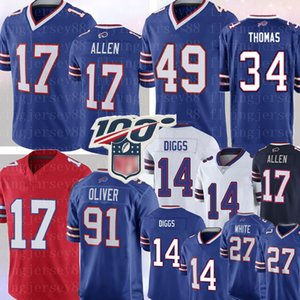 NCAA 17 Josh Allen Jersey 34 Thurman Thomas 14 Stefon Diggs 49 Tremaine Edmunds 91 Oliver 27 Tre'Davious blanc Jim Kelly Football Maillots