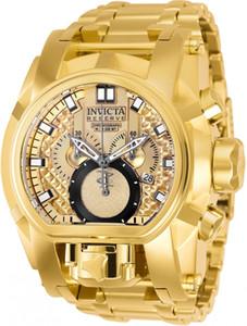 Invicta Modelo: 25210 Reserve parafuso Zeus Magnum suíço 18kt banhado a ouro dupla Dial 52 milímetros Men relógio de quartzo