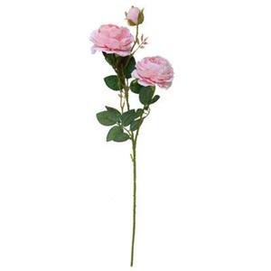 Ev Düğün Dekorasyon Yapay Çiçek Buket 3 Başkanları için Yapay Şakayık Avrupa Rose Flower 61cm İpek Çiçekler