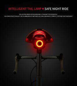 Lampe de poche pour le frein arrière vélo éclairage automatique de détection de charge USB Montagnes LED vélo vélo Tige de selle du vélo Retour Feu arrière Lumière Accessoires