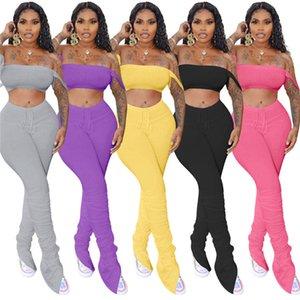 Setleri Casual Kapalı Omuz Katı Renk Bölünmüş Tozluklar İki Adet Pantolon Eşleştirme Yığılmış Pantolon Bayan Yaz Eşofmanlar