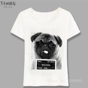 New Women Harajuku Fashion Women T Shirt Bad Dog Design T Shirt Womens High Quality Casual Tops Cute Girl Tees Lovely Pug