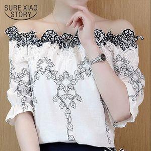 korean fashion clothing Women top short blouse 2019 white shirts ladies tops shirt lace blouse harajuku women 2732 50