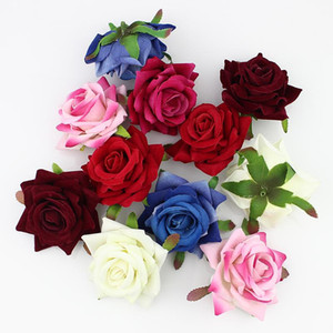 6cm soie 50pcs Têtes Blooming Rose Fleur artificielle pour mariage Décoration bricolage scrapbooking Chapeau Couronne Corsage Fleurs Faux