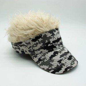 White Purple Novelty Unisex Cap Fake Flair Hair Sun Visor Hats Men's Women's Toupee Wig Funny Hair Loss Cool Gifts Golf Cap Hat