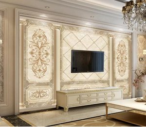 Personalizado 3D Mural Wallpaper criativa Extensão Wallpaper seda premium do vintage arte de mármore pintura de parede