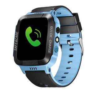 Y21 GPS Enfants montre Smart Watch Anti perdu Lampe de poche Smart Baby SOS Appel Wristwatch Lieu Tracker Kid Safe intelligent Bracelet pour iPhone Android