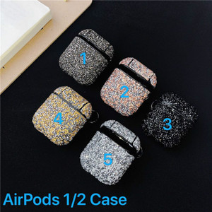 Lüks Tasarımcı Airpods Kılıf Rhinestone Kulaklık Kapak İçin Airpods 1/2 Vaka Kablosuz Bluetooth Koru Nefis Vaka Anti-kayıp Şarj