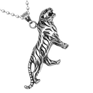 Fashion Charm Mens Stainless Steel Tiger Pendant Necklace Chain Accessory