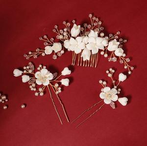 Macio da flor do casamento Acessórios Noiva Jóias cabelo pente com Crystal Pearl Beauty Bridal Cabelo pinos Grampos com caixa de presente preto Embalagem