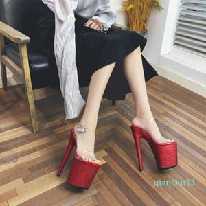 Caliente venta-Leecabe 20cm nuevo polo de baile talón señoras atractivas Red Glitter zapatos de plataforma de tacón alto Tacones plataforma sandalia zapato de baile de tubo