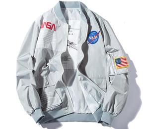 Новый Бренд НАСА Flight Pilot Мужские Дизайнерские Куртки Вскользь Пальто Бомбардировщик MA1 Осень Письмо Печатный Ветровка Мужская Куртка Верхняя Одежда # 09