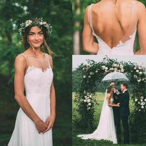 Vintage Bohemian Country Garden A-line Wedding Dresses Sheer Jewel Neck Backless Modest Boho Bridal Gowns Cheap