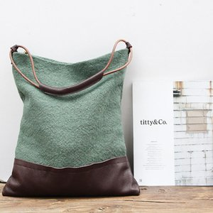 Manufacturers selling splicing cloth autumn new tide restoring ancient ways is cotton and linen bag aslant female bag shoulder bag