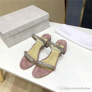 Summer black pink crystal sandals full star pink crystal low-heeled leather sandals for women 4 cm high With original shoe box