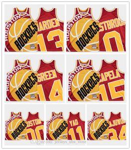 personalizadasnbaHoustonRockets Yao 11Ming 4 CharlesBarkley 15 ClintCapela Retro Equipe Big rosto coberto engraçado Jerseys