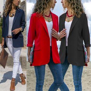 Moda Otoño femenino ocasional delgado traje sólido chaqueta OL Outwear los trajes de las mujeres de negocios Blazers Solid Nuevo Streetwear