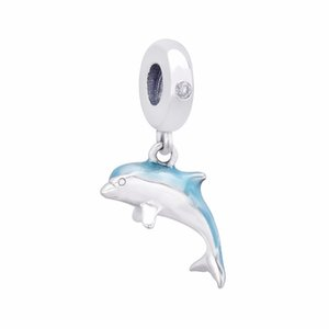 2020 New 925 Sterling Silver Summer Collection Shimmering Dolphin Dangle Charm Bead Fits European Pandora Jewelry Charm Bracelets
