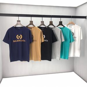 2020ss Frühling und Sommer neuer hochwertiger Baumwolldruck kurzer Ärmel Rundhalsausschnitt Panel T-Shirt Größe: m-L-XL-XXL-XXXL Farbe: schwarz wissen q54A