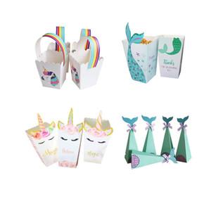 IFT Bags Envolvendo Supplies Little Mermaid Suprimentos da sereia Popcorn Box Unicorn partido dos doces Caixa Saco Crianças favor da festa de casamento de aniversário d ...