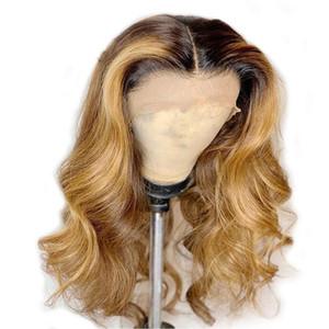 Best Body qualità della comunicazione 1BT27 # 30 # Ombre Nero al Biondi Lace sintetica resistente sintetico merletto svizzero fronteggiano la parrucca di calore parrucche capelli in azione