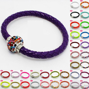 2016 New Braided Bracelets PU Leather Magnetic button Bracelet CZ Disco Crystal Bead Bangle Multicolor Handcraft gift
