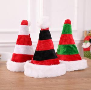 Decoração de Natal listrado 3styles Xmas Hat Detalhes no vermelho de Papai Noel Bolsa Festa de Natal chapéu de pelúcia Ornamentos crianças dom FFA2848-3