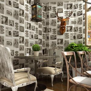 Vintage Holzmaserung Fototapete Bar KTV Restaurant Hotelküche wasserdicht Hauptdekor Persönlichkeit Graffiti englische Buchstaben Tapete