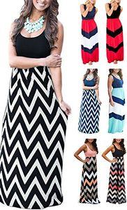 LETSRUNWILD Women's Boho Striped Print Summer Beach Sleeveless Tank Long Maxi Party Dress