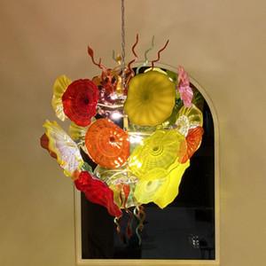 شكل زهرة كريستال سلسلة قلادة الأنوار زجاج مورانو مصابيح الثريا لغرفة المعيشة مصباح الحديثة لديكور البيت غرفة -L