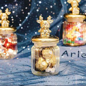 2pcs lot Golden Ceramic Elk Lid Transparent Glass Airtight Canister Storage Bottles Jars Honey Candy Coffee Pot