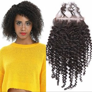 Brazilian Human Hair 4*4 Kinky Curly Lace Closure with Baby Hair 8-20 inch Virgin Hair Top Closures