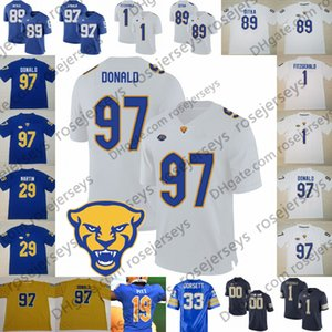 Pitt Pittsburgh Panthers # 1 Larry Fitzgerald 97 Aaron Donald 29 Curtis Martin 33 Tony Dorsett 89 Mike Ditka Blu Retired Football Jersey
