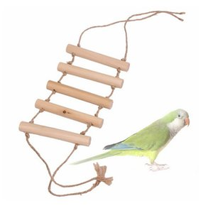Wood Parrot Drawbridge Bird Ladder Climb Cableway Hamster Toys Birdcage Bridge Pet Training Tools