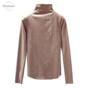 New Bottoming Shirt Autumn Winter Korean Students Half High Collar Slim Long Sleeved T Shirt Female Long Thin Drop Shipping