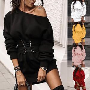 Женская Твердая O-образным вырезом с длинным рукавом руно Толстые платье + Waistband Пояс Бандаж Шумер элегантное платье для дам Faldas де Mujer # 2