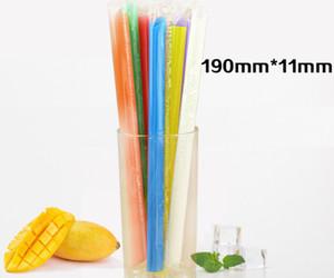 Новейший набор размеров для питья 190x11 мм = 100 кусочков одноразовой соломы, индивидуально упакованный с цветными пищевыми материалами.