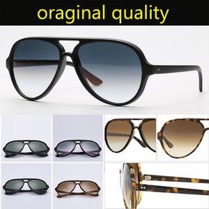 أعلى جودة 4125 راي العلامة التجارية نظارات شمس رجل إمرأة الرجعية الكلاسيكية نظارات الشمس 5000 نموذج إطار النايلون G15 العدسات التصميم الأصلي حزم القط