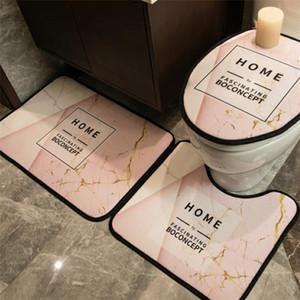 Tres piezas de la cubierta de asiento del inodoro precioso letra impresa Inicio Mats moda antideslizante patrón WC Palo Mats accesoories