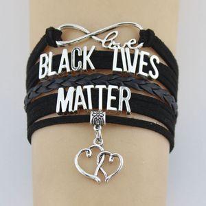 Infinity amour Soutenir la vie Charms noir Matière coeur Wrap Multilayer manchette en cuir Bijoux Bracelets Hommes pour femmes