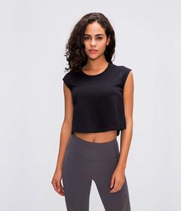 2020 여름 새로운 LU-03 단색 작은 반소매 T 셔츠 여성 통기성 요가 옷 다를 빠른 건조 캐주얼 셔츠를 입고 배꼽 노출