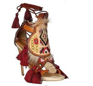 La venta caliente-mujeres gladiador sandalias pie de gato de tacón alto de los pernos prisioneros damas Negro Marrón Flecos sandalias del verano del diseño de los zapatos Zapatos mujers