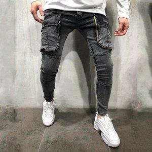 Big Pocket Skinny Mens Jeans Light Casual Men Designer Pencil Pants Four Seasons Fashion Mens Clothing