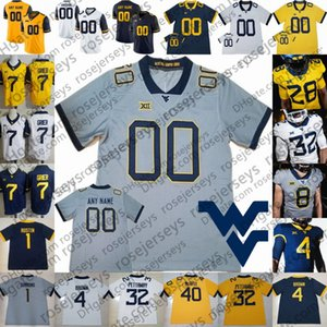 2020 New West Virginia Mountaineers # 1 TJ Simmons 4 Leddie Brown 6 Kennedy McKoy 12 Austin Kendall 15 George Campbell WVU Football Jersey