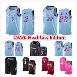Dwayne 3 Wade Jersey Erkekler Pembe Jimmy 22 Butler 14 Tyler Herro Kendrick 25 Nunn Mavi Basketbol Formalar MiamiSıcaklık2020Şort
