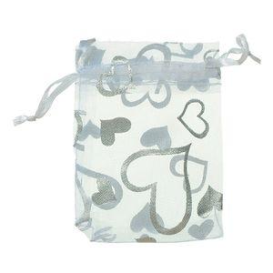 100 Pcs Heart White Organza Wedding Gift Bags Jewellery Pouches 7x9cm