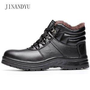 Kış Gerçek Deri Ayakkabı Bay Bot Çelik Burun Peluş Moda Emniyet Suya Yok edilemez Anti-delinme Çalışma Shoes