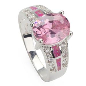 SHUNXUNZE Shinning Les anneaux de fiançailles de mariage pour les femmes Temps Réduction limitée Rose Zircon et rose opale rhodié taille R109 6 - 9