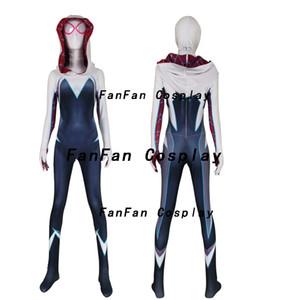 Mais novo Spider Gwen Stacy Meninas Cosplay Superhero Spandex Zentai Bodysuit Halloween Homem Aranha Cosplay Macacão